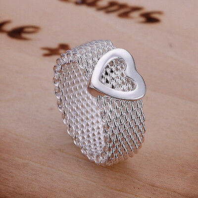 XMAS wholesale sterling solid silver heart Ring YR332 + box