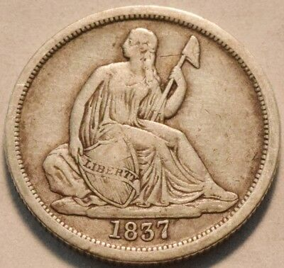 1837 No Stars Seated Liberty Dime, Middle Grade, Better Date Silver 10C Coin