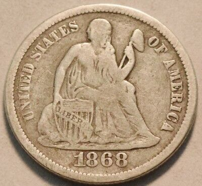 1868 S Seated Liberty Dime, Scarce Date, Middle Grade Silver 10C Coin