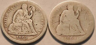 Lot of (2) 1863 S Seated Liberty Dimes, Scarce Date, Quality Filler, Silver 10C