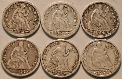 Lot of (6) Arrows Seated Liberty Dimes, 1853 1854 P, O 1873 1874 Silver 10C Coin