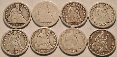 Lot (8) Better Seated Liberty Dimes 1875 CC 1838 1839 1841 1849 1862 Silver 10C