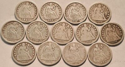 Lot of (13) Seated Liberty Dimes 1845 1847 1849 1851 1859 O 1869 S Silver 10C