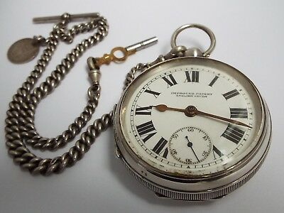 Superb Large Fully Working Antique 1920 Solid Silver Pocket Watch & Albert Chain