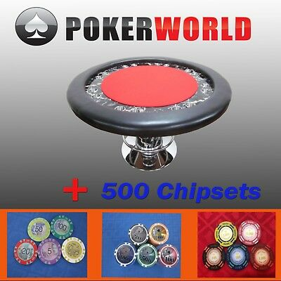 """Luxury Marble  Design 58"""" Round Poker Table W/ Foot Rest [Red] + 500 Chipsets"""