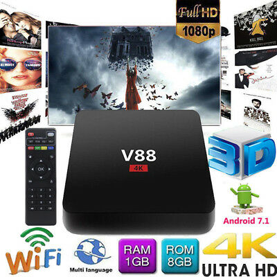 V88 Android 7.1.2 Smart TV BOX WiFi Quad Core Media Player 4K HDR With Remote