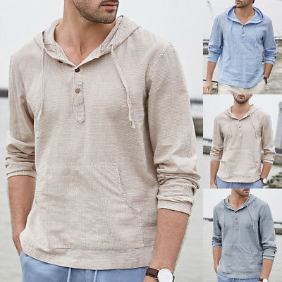 AU Mens Vintage Solid Button Hoodie T Shirts Hooded Pullover Long Sleeve Top Tee