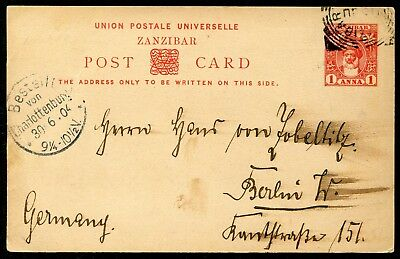 Zanzibar 1899 1a postal stationery card P.10 used to Germany