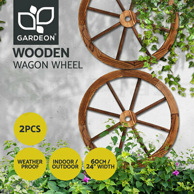 Gardeon 2X Wooden Wagon Wheel Rustic Outdoor Garden Decor Indoor Wall Feature