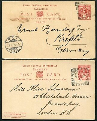 Zanzibar 1899 1a postal stationery reply card P.12 outward & reply halves used