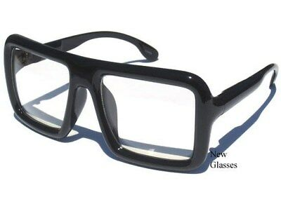 BIG OVERSIZE Flat Top Thick Bold Square Black Frame Clear Lens Hipster Glasses