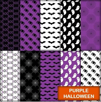 PURPLE HALLOWEEN SCRAPBOOK PAPER - 10 x A4 pages