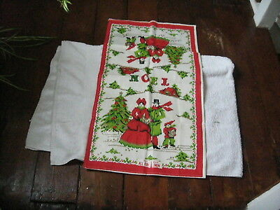 Brand  New All Pure Linen Parisian Prints Collectable Tea Towel Noel Made In Usa