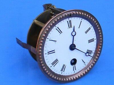 Antique French 8 Day Key Wind Clock Movement, Working.