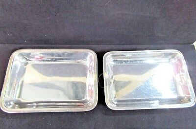 Two Silver Plated Rectangular Serving Dishes Trays (B34)