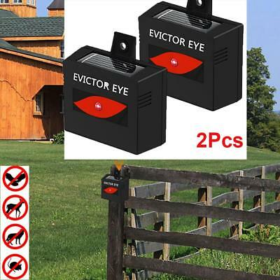 2pcs Solar Powered Animal Repeller Repellent Pest Cat Dog Fox Bird Mouse Scarer
