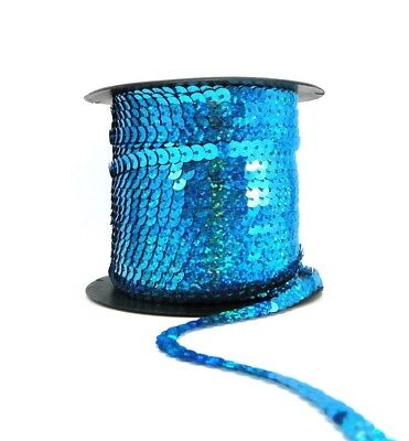 Holographic Blue 6mm Sequin Trimming String Flat Round Costume (1/3/5/10/90M)