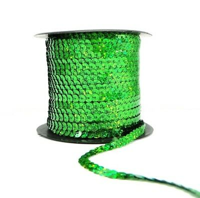 Holographic Green 6mm Sequin Trim String Flat Round Costume (1/3/5/10/90M)