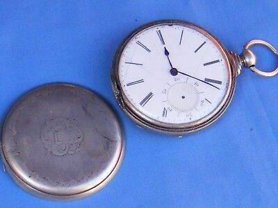 Antique Full Hunter Key Wind Pocket Watch, Silver Plated, Working.
