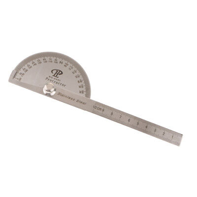 Stainless Steel 180° Protractor Round Head Rotary Angle Rule Finder Ruler