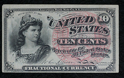 Nice XF/AU 1863 Fractional Currency 10 Cent Note - Fourth Issue.