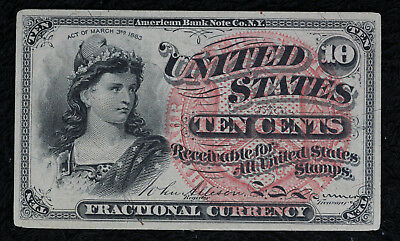 Nice Uncirculated 1863 Fractional Currency 10 Cent Note - Fourth Issue.