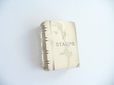 Antique Silver & Glass Book Shaped Double Stamp Holder Hallmarked CHESTER 1911