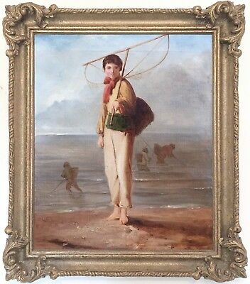 The Young Fisher Boy Antique Genre Oil Painting 19th Century English School