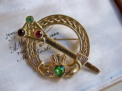 Scottish Celtic Penannular Luckenbooth Sword Hands Heart & Crown Brooch Kilt Pin