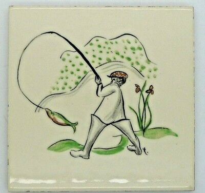 Vintage 1950 Handpainted Thynne Tile With Fishing Angling Design