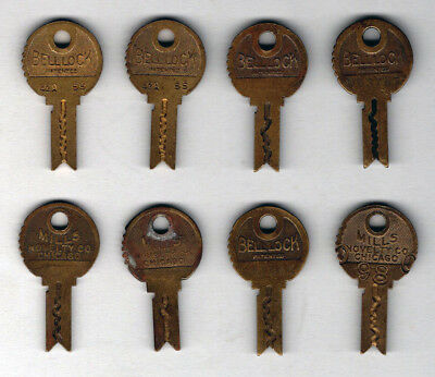 Group of 8 Original Mills Novelty Slot Machine Keys, No Reserve