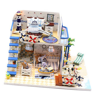 DIY Handcrafted Miniature Project Wooden Dolls House Coast Villa 1/24 Scale