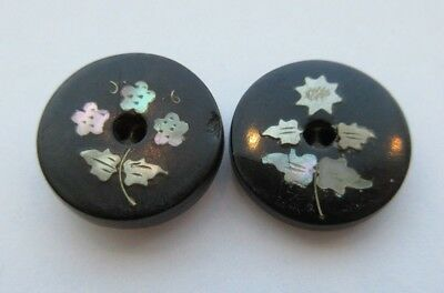 Beautiful Lot of 2 Antique~ Vtg HORN Inlay BUTTONS Inlaid MOP Shell Flowers (S3)