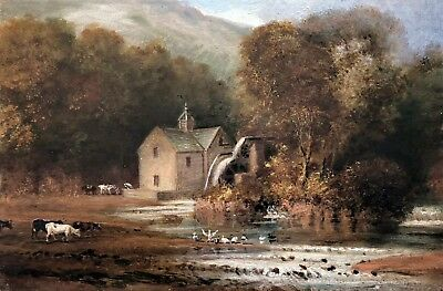 Cattle by Watermill Antique Oil Painting John Joseph Hughes (British, 1820–1909)