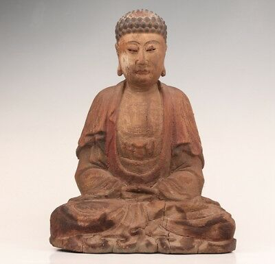 Old Antique Chinese Wood Statue Hand-Carved Buddha Spiritual Monk Belief