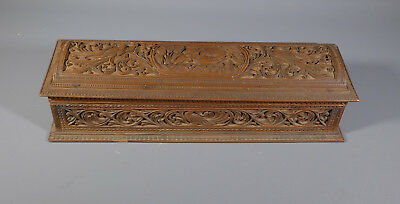 Antique 19Th C. Anglo Indian Carved Sandalwood Box Casket Domed Lid As Found