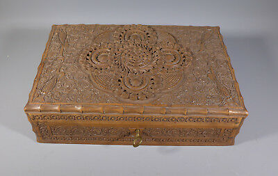 Antique Anglo Indian Carved Teak? Box Jewellery Casket With Key