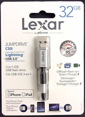 Lexar JUMPDRIVE C20i 32GB [Lightning + USB 3.0][3 in 1 USB Flash Drive]Brand New