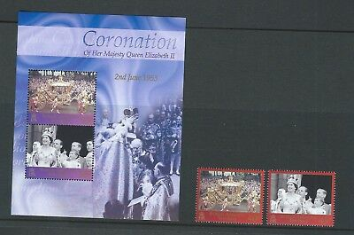 British Antarctic Territory 2003 UMM 50th Anniv of Coronation sg 357/8 & MS 359
