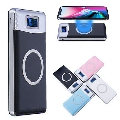 NEW 500000mAh Power Bank Qi Wireless Charging 2 USB LED Portable Battery Charger