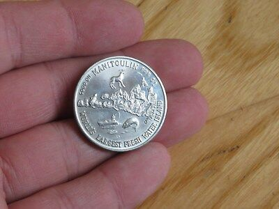 1970 Manitoulin Haweater trade dollar coin Ontario Canada Fishing Ship Bridge