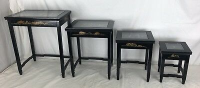 Vintage Oriental Mother Of Pearl 4 Asian Nesting Tables Black Lacquer Glass tops