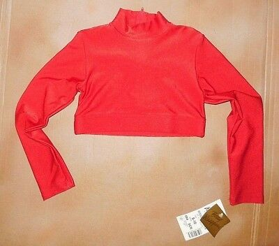 NWT Body Wrappers Mock T-neck LONG SLEEVE Crop Top Scarlet Red CHEER Child 8-10