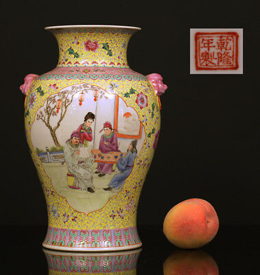 A BEAUTIFUL antique CHINESE PORCELAIN IMPERIAL YELLOW PROC VASE FIGURES !