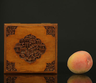 A BEAUTIFUL antique CHINESE WOODEN CANTONESE BOX FIGURES HAND CARVED 1900