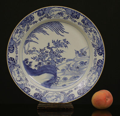 A HUGE BEAUTIFUL antique CHINESE PORCELAIN BLUE WHITE CHARGER MANDARIN DUCK 18TH