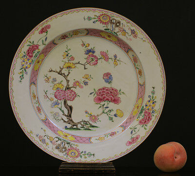 A HUGE BEAUTIFUL antique CHINESE PORCELAIN FAMILLE ROSE YONGZHENG CHARGER18TH !