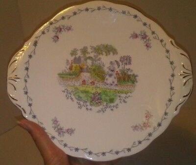 BELL Fine Bone China Handled SERVING CAKE PLATE Woman in Cottage Garden England