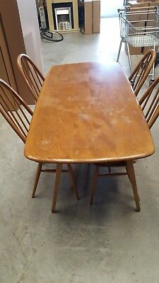 Vintage Ercol Elm Windsor Dining Table And 4 Quaker Chairs C1960S
