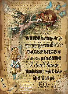 """ALICE IN WONDERLAND: THE CHESHIRE CAT QUOTE: METAL SIGN 8"""" x 6"""" LOVELY GIFT"""